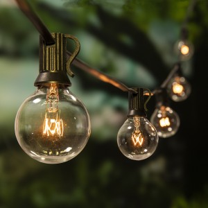 20ft E12 Base Clear G40 Globe Bulb Patio String Light for Indoor and Outdoor Decoration